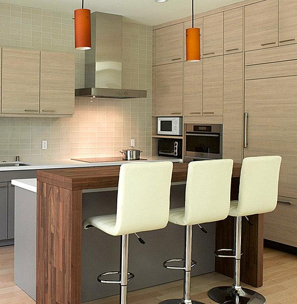 innovative küchenbar designs barstühle leder bezogen pendelleuchten