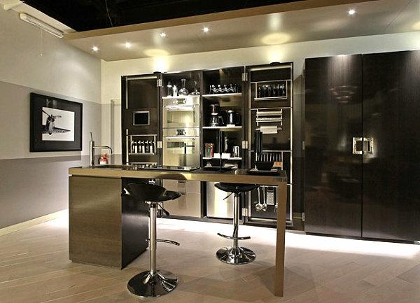 innovative küchenbar designs barstühle schwarz metall akzente