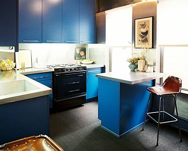 innovative küchenbar designs metall struktur blau oberflächen