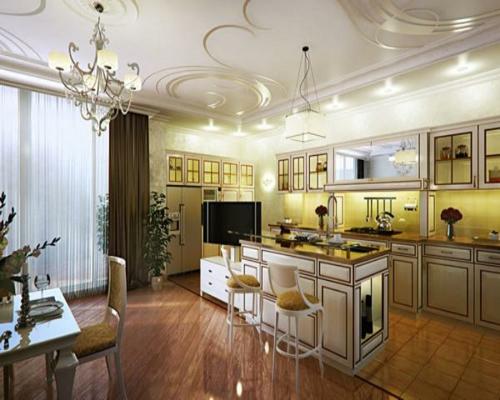 interessante zimmerdecke gestaltung deko küche kronleuchter