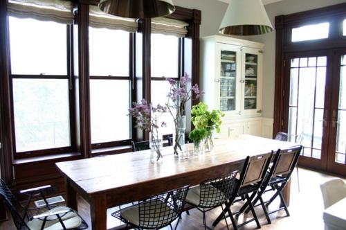 interior design im landhausstil einrichten massiv holz tisch esszimmer