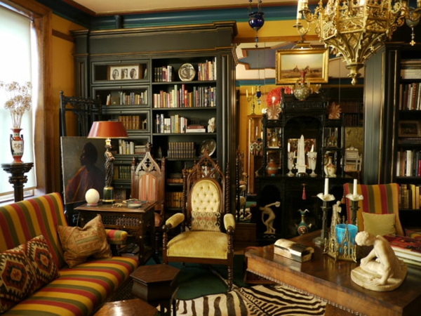 interior design mythen eklektisch luxuriös mit zebra fellteppich