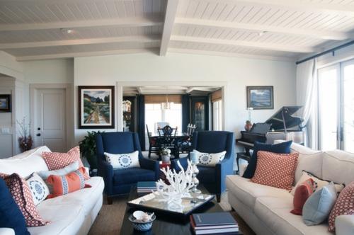 wohnzimmer blau wei grau | möbelideen, Innenarchitektur ideen