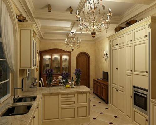 küche gestaltung kronleuchter spüle schrank wandlampen