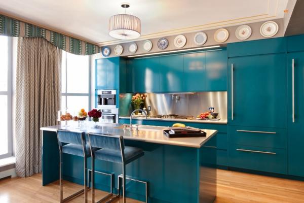 küche upgraden klassisch einrichtung blau glanzvoll oberflächen