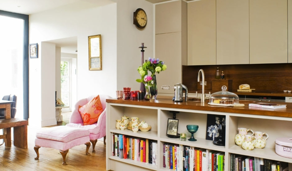küche upgraden klassisch einrichtung regale liege rosa
