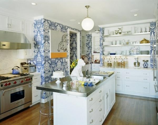 küche upgraden klassisch einrichtung weiß muster wandgestaltung