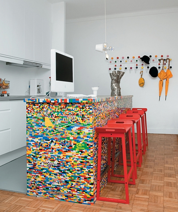 kücheninsel design ideen bunte mozaik lego stil