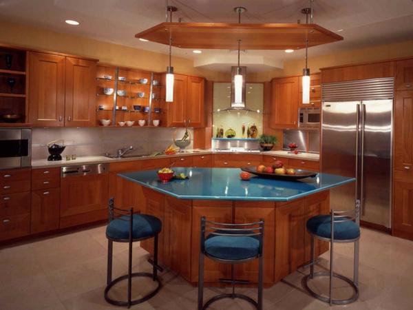kücheninsel design ideen eckig blau