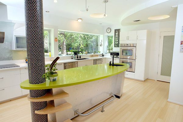 kücheninsel design ideen glänzende neongrüne oberfläche