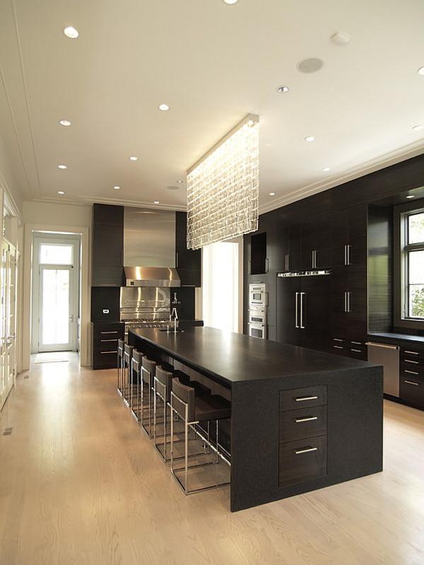 kücheninsel design ideen minimalistisch mit vielen barstühlen