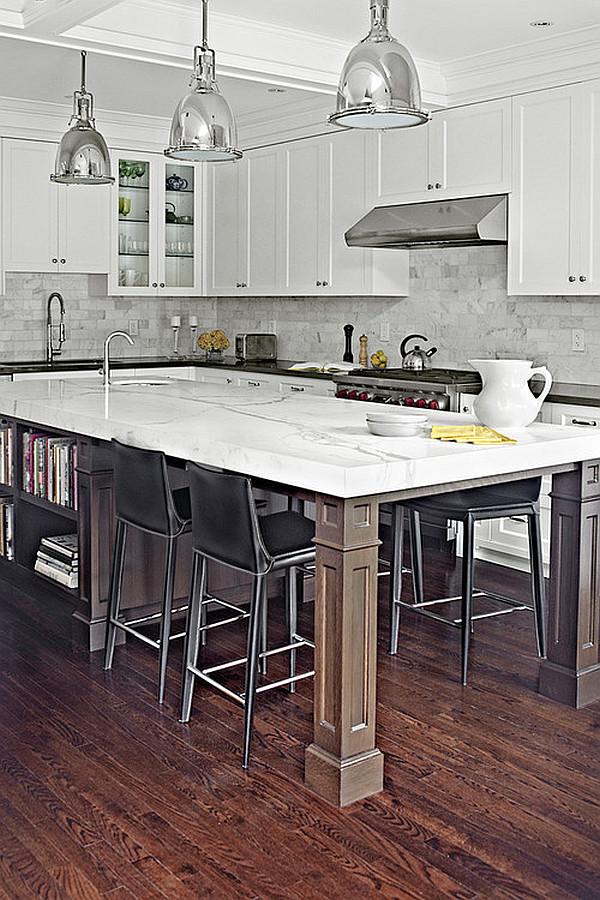 kücheninsel design ideen schwarz weiße ausstattung metall pendellampen