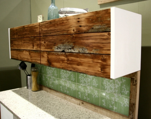 Wood Stained Kitchen Cabinets With Gray Tile Floors