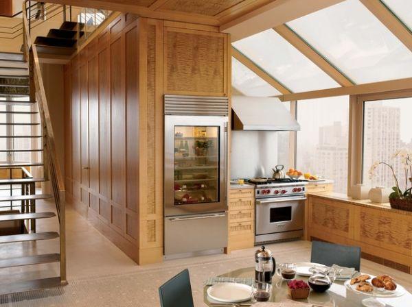 kühlschrank glastüren ideen küche design holz einrichtung