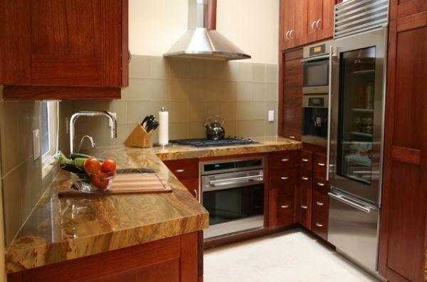 kühlschrank glastüren ideen küche design holz oberflächen glatt linien