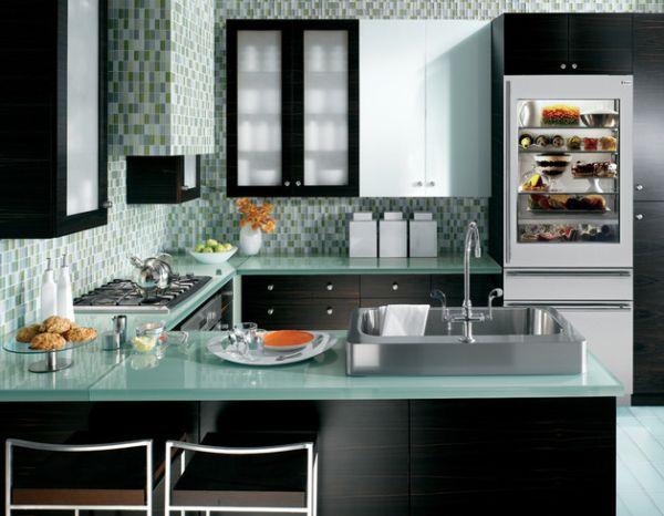 kühlschrank glastüren ideen küche design mosaik fliesen