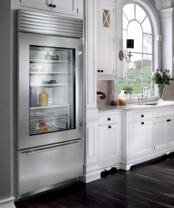 kühlschrank glastüren ideen küche design weiß holz möbel
