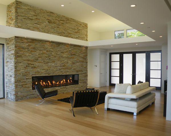 Deckenbeleuchtung Wohnzimmer ModernIdeen Steinwand