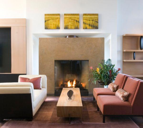 kamine mit verglasung modern wohnung holz tisch sofa