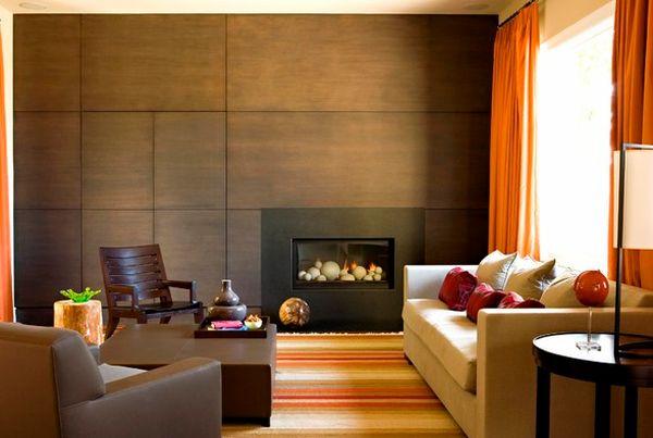 kamine mit verglasung modern wohnung orange gardinen sofa