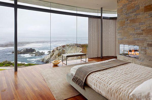 kamine mit verglasung modern wohnung schlafzimmer bett steinwand
