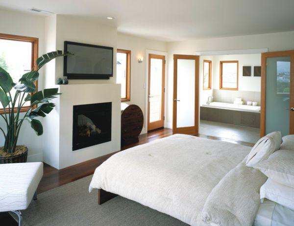 kamine mit verglasung modern wohnung schlafzimmer weiß bettwäsche