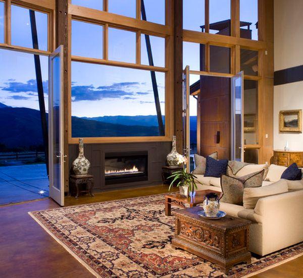 kamine mit verglasung modern wohnung teppich sofa fenster