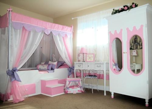 kinderzimmer mädchen rosa weiß möbel himmelbett