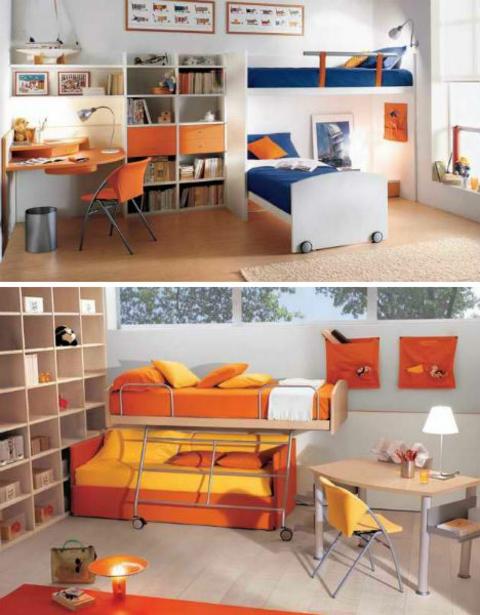 klasse kinderzimmer design schön und hell in orange und gelb