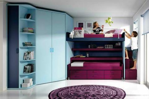 schickes kinderzimmer design violette nuanchen hochbett