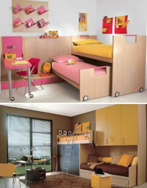 klasse kinderzimmer design zweistufen betten mit rädern