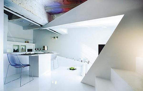 kleines designer apartment essbereich küche acryl möbel