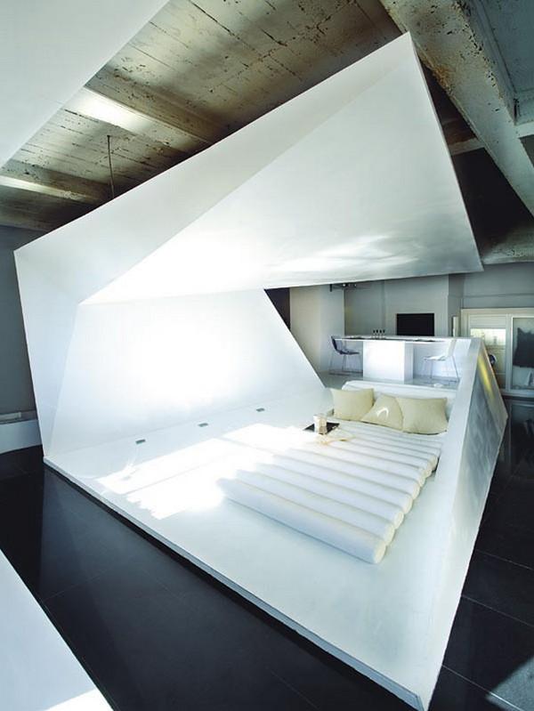 kleines designer apartment schlafzimmer eckige linien formen