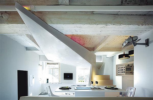 kleines designer apartment weiße minimalistische  einrichtung