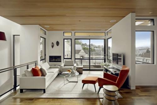 kompakt wohnbereich sofa sessel fußhocker orange