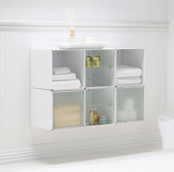 kreative badezimmer gestaltung organisation aufbewahren modular weiß