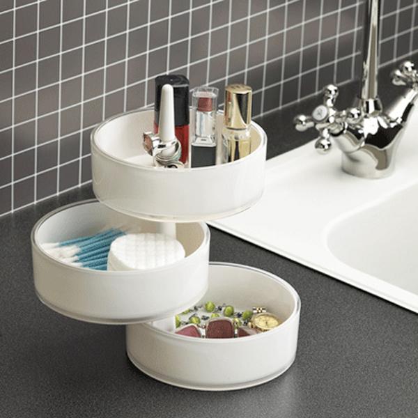 kreative badezimmer gestaltung aufbewahren rund offen schubladen