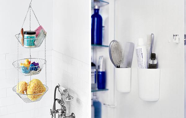 kreative badezimmer gestaltung organisation hängen dusch fliesen weiß