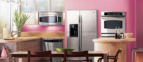 kreative küchen designs holz rosa wand akzente feminine einrichtung