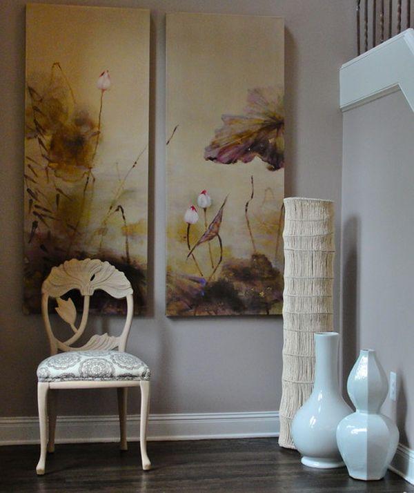 lange weiße bodenvasen dekor wanddekoration gemälde stuhl klassisch