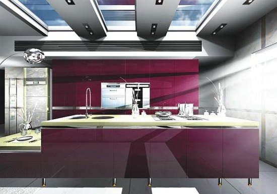 lila farbpalette in der küche glanzvoll eingebaut küchenschränke