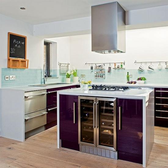 lila farbpalette in der küche glanzvoll insel küchenschrank