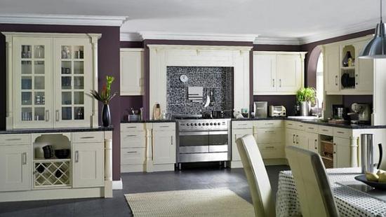 lila farbpalette in der küche klassisch gestaltung wand farbe