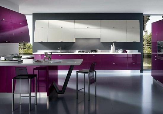 lila farbpalette in der küche modern design purpur oberflächen