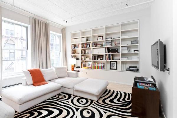 Interieur wohnzimmer  Schickes SoHo Loft Design mit schwarzweißem Interieur