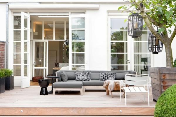 lounge terrasse wie im boutique hotel elegant in grau tolle laternen