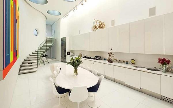 luxus küchen designs weiß eingebaute küchenschrank esstisch