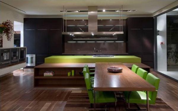luxus single wohnung grün küchenarbeitsplatte stuhl holz