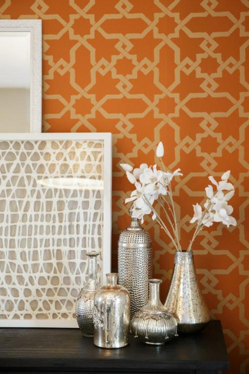 marokkanisches Flair im Interieur Design orange tapeten muster