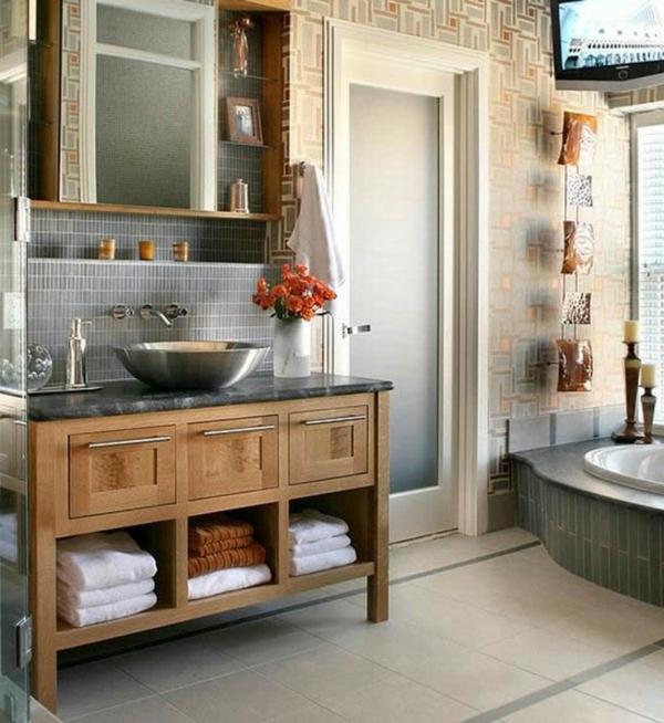 mehr stauraum im badezimmer wunderschöne hölzerne kommode und schalenförmiges becken